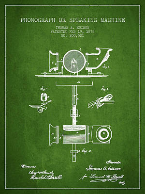 Phonograph Drawing - Phonograph Or Speaking Machine Patent Drawing From 1878 - Green by Aged Pixel