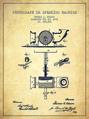 Phonograph Drawing - Phonograph Or Speaking Machine Patent Drawing From 1878 - Vintag by Aged Pixel