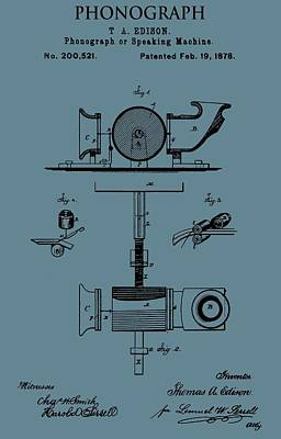 Sound Digital Art - Phonograph Patent On Blue by Dan Sproul