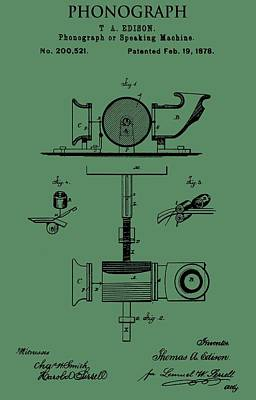 Sound Digital Art - Phonograph Patent On Green by Dan Sproul