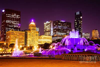 Buckingham Fountain Wall Art - Photograph - Photo Of Chicago At Night With Buckingham Fountain  by Paul Velgos