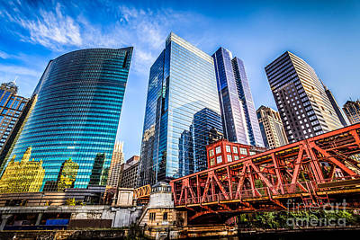Photo Of Chicago Buildings At Lake Street Bridge Art Print by Paul Velgos