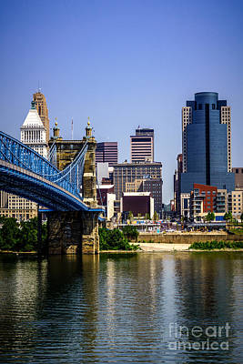Roebling Bridge Photograph - Photo Of Cincinnati Buildings And Roebling Bridge by Paul Velgos