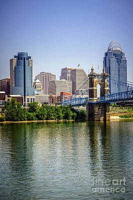 Roebling Bridge Photograph - Photo Of Cincinnati Skyline And Roebling Bridge by Paul Velgos