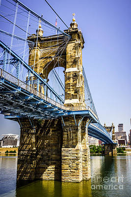 Photo Of Roebling Bridge In Cincinnati Ohio Art Print by Paul Velgos