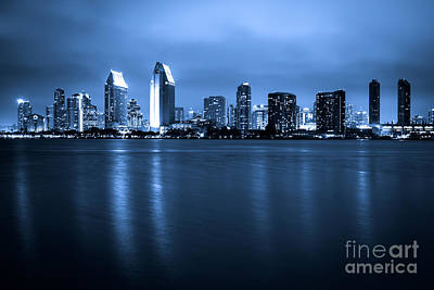 San Diego Bay Photograph - Photo Of San Diego At Night Skyline Buildings by Paul Velgos