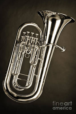 Bass Photograph - Photograph Of A Tuba Brass Music Instrument In Sepia 3280.01 by M K  Miller