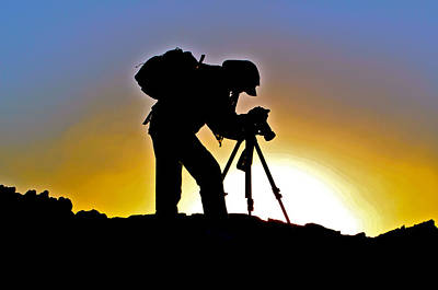 Artist Working Photograph - Photographer At Work A Sunset Silouette by Venetia Featherstone-Witty