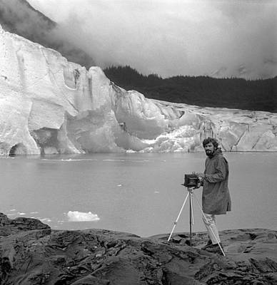 Photograph - T-201901-bw-photographer Ed Cooper At The Mendenhall Glacier, Alaska by Ed  Cooper Photography