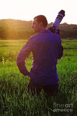 Artist Working Photograph - Photographer In Sunset by Aleksey Tugolukov