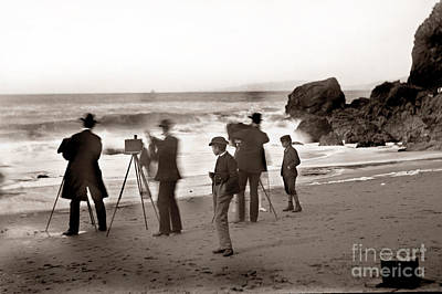 Photograph - Photographer On The Beach California  Circa 1887 by California Views Archives Mr Pat Hathaway Archives