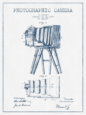 Photographic Camera Patent Drawing From 1885- Blue Ink Art Print by Aged Pixel