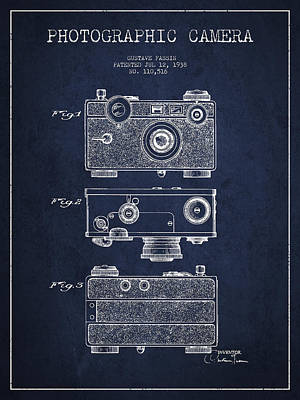 Film Camera Digital Art - Photographic Camera Patent Drawing From 1938 by Aged Pixel