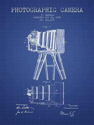 Photographic Camera Patent From 1885 - Blueprint Art Print by Aged Pixel