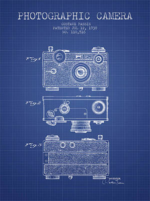 Camera Digital Art - Photographic Camera Patent From 1938 - Blueprint by Aged Pixel