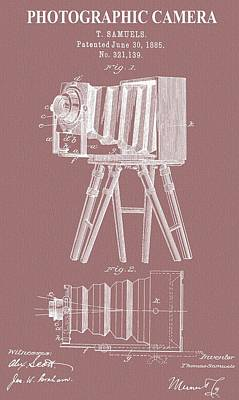 Vintage Camera Mixed Media - Photographic Camera Patent On Canvas by Dan Sproul