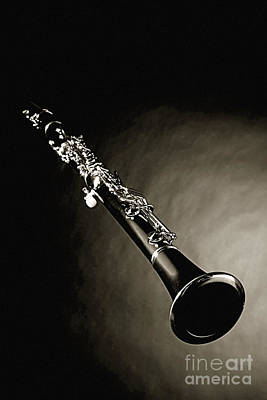 Photograph - Photographic Of A Clarinet Music Instrument In Sepia 3011.03 by M K Miller
