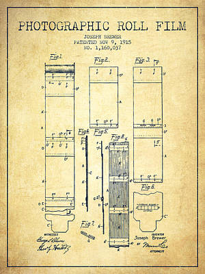 Camera Digital Art - Photographic Roll Film Patent From 1915 - Vintage by Aged Pixel