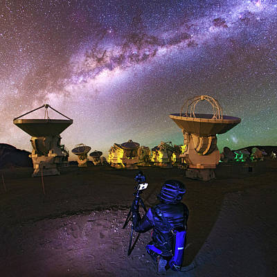 Constellations Photograph - Photographing Alma Radio Telescope by Babak Tafreshi