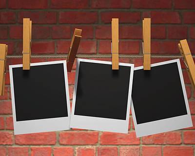 Polaroid Camera Photograph - Photographs On Washing Line by Ktsdesign