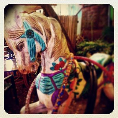 Blue Heaven Carousel Horse Art Print