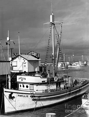 Photograph - Phyllis Purse-seiner Monterey Wharf California  Circa 1940 by California Views Mr Pat Hathaway Archives