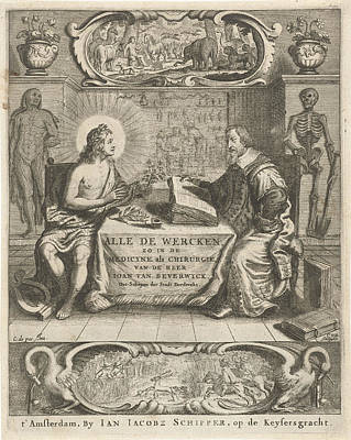 Physician Johan Beverwijk Studying Books About Apollo Art Print by Cornelis Van Dalen (i) And Jan Jacobsz Schipper