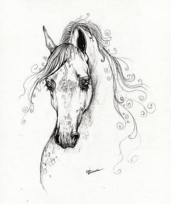Piaff Polish Arabian Horse Drawing Original by Angel  Tarantella