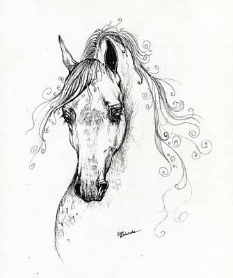 Piaff Polish Arabian Horse Drawing Print by Angel  Tarantella