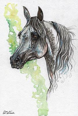 Piaff Polish Arabian Horse Painting Original by Angel  Tarantella