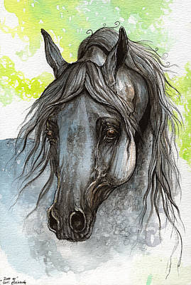 Piaff Polish Arabian Horse Watercolor  Painting 1 Art Print by Angel  Tarantella