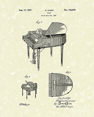 Piano Drawing - Piano 1937 Patent Art by Prior Art Design