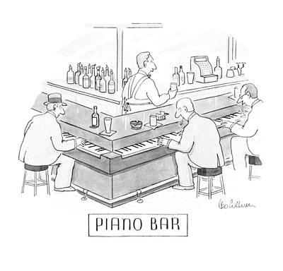Wrap Drawing - Piano Bar by Leo Cullum