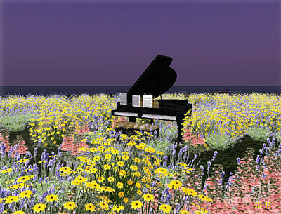 Art Print featuring the digital art Piano In Spring by Susanne Baumann