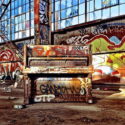Piano Photograph - Piano In Warehouse by Julie Gebhardt