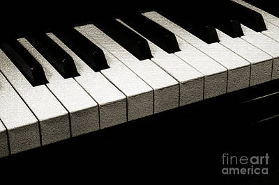 Andee Design Bw Photograph - Piano Keys Coffee Tone by Andee Design
