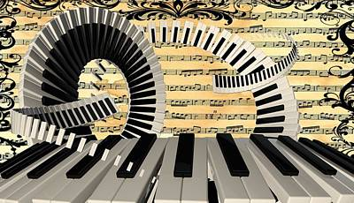Digital Art - Piano Keys  by Louis Ferreira
