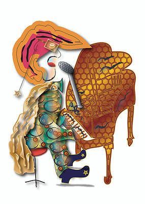Piano Man Art Print by Marvin Blaine