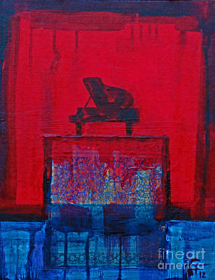 Painting - Piano On The Red Stage by Walter Fahmy