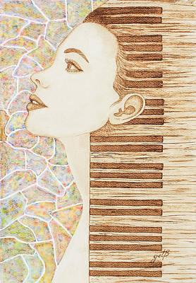 Woman.abstract Painting - Piano Spirit Original Coffee And Watercolors Series by Georgeta Blanaru