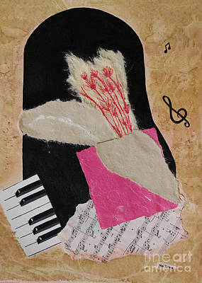 Mini Arora Collages Mixed Media - Piano Still Life by Mini Arora