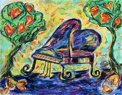 Mixed Media - Piano With Heart Trees by Kelly Athena