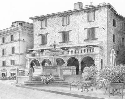 World Heritage Site Drawing - Piazza At Assisi by Diane Cardaci