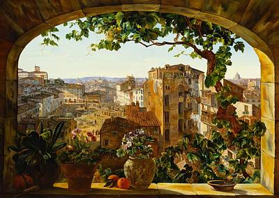 Windowsill Painting - Piazza Barberini In Rome by Karl von Bergen