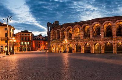 Piazza Bra And Arena Verona Amphitheatre In Italy Art Print