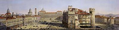 Castle Drawing - Piazza Castello, Turin, Engraved By F by Carlo Bossoli
