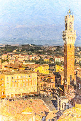 Cityscape Digital Art - Piazza Del Campo by Liz Leyden