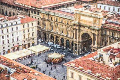 Digital Art - Piazza Della Repubblica by Liz Leyden