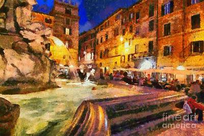 Painting - Piazza Della Rotonda In Rome by George Atsametakis
