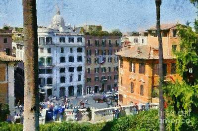 Painting - Piazza Di Spagna In Rome by George Atsametakis